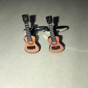 Acoustic guitar cufflinks silver